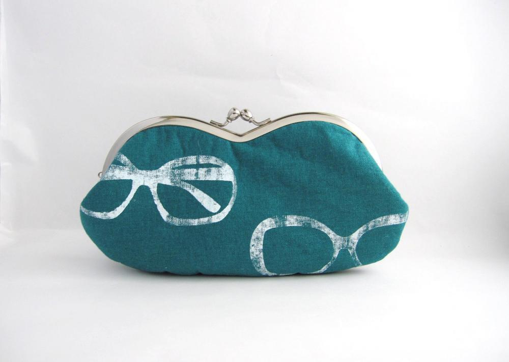 sunglass / eyeglasses case -glasses on teal linen - snap case- frame purse