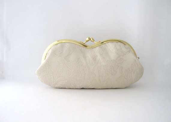 sunglasses / eyeglasses case- ivory damask -snap case- frame purse